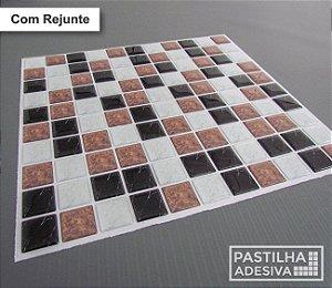 Placa Pastilha Adesiva Resinada 30x27 cm - AT191 - Marrom Preto