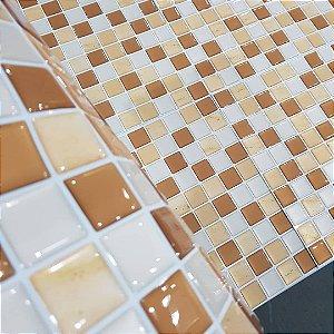 Placa Pastilha Adesiva Resinada 30x27 cm - AT194 - Marrom Textura