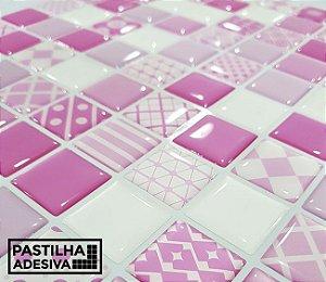 Placa Pastilha Adesiva Resinada 30x27 cm - AT202 - Rosa