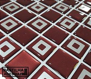Placa Pastilha Adesiva Resinada 30x27 cm - AT211 - Vermelho