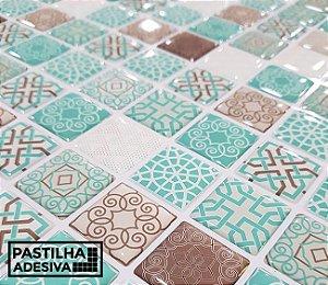 Placa Pastilha Adesiva Resinada 30x27 cm - AT213 - Azul