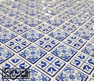 Placa Mosaico Adesiva Resinada 30x27 cm - AT214 - Azul