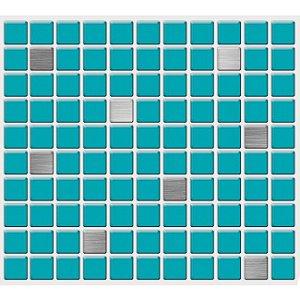 Placa Pastilha Adesiva Resinada 30x27 cm - AT220 - Azul