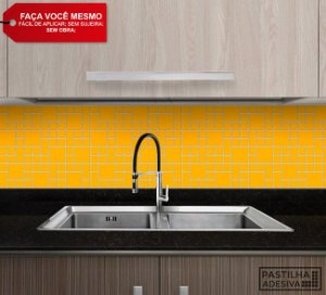 Placa Mosaico Adesiva Resinada 30x27 cm - AT107 - Amarelo