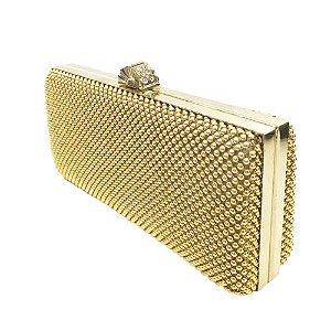 Clutch Bolinhas Dourada