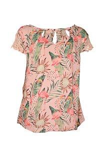 Blusa Flamingos Tropical