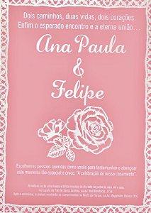 Pano de prato personalizado - Convite de casamento da Ana