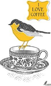 Pano de prato personalizado - Pássaro na xícara