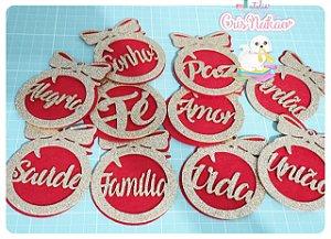 Kit Aplique de Natal em Eva Dourado com fundo em Feltro vermelho -10  Palavras