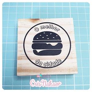 Carimbo Artesanal - O melhor hambúrguer da cidade - base 6x6cm