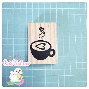 Carimbo Artesanal - Café  - base 6x4cm