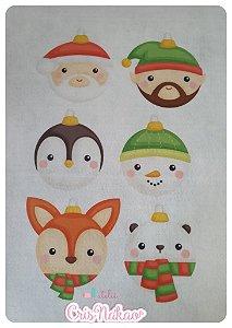Feltro Estampado Pingentes de Natal 1 - Kit com 12 desenhos