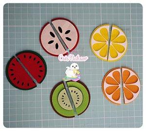 Kit de recortes em Feltro - Frutas partidas  - Ideal para Quiet Books 6cm