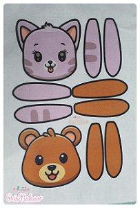 Feltro Estampado - Rostinho Gatinho e Urso para capa de Quiet Book