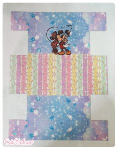 Feltro estampado - Nécessaire Mickey e Minnie Céu modelo 1