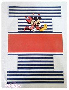 Feltro estampado - Nécessaire Minnie e Mickey  fundo Vermelho e Azul mod 1