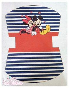 Feltro estampado - Nécessaire Minnie e Mickey  fundo Vermelho e Azul mod 2