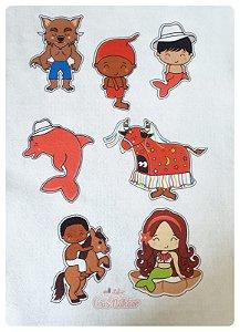 Feltro Estampado - Personagens Folclóricos - 13 personagens + 2 itens