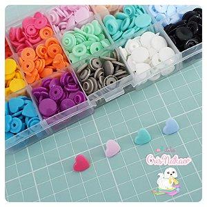 Kit com 150 Botões Coração sortidos 15 cores - Tic Tac