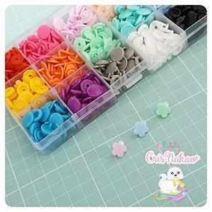 Kit com 150 Botões Flor sortidos 15 cores - Tic Tac