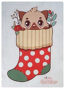 Feltro Estampado - Meia de Natal - Gatinho Vermelho