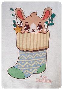 Feltro Estampado - Meia de Natal - Coelhinho azul