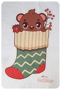 Feltro Estampado - Meia de Natal - Ursinho Verde