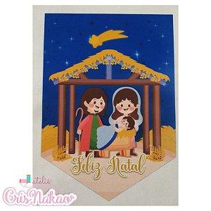Feltro estampado - Flâmula presépio José, Maria e Jesus