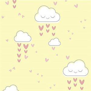 Feltro Estampado Chuva de Amor Creme - Santa Fé