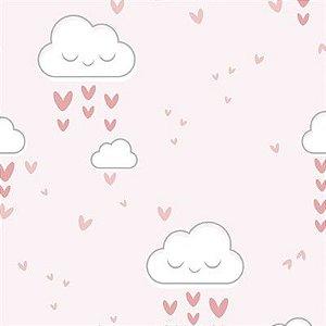 Feltro Estampado Chuva de Amor Rosa - Santa Fé