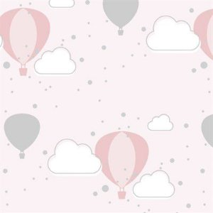 Feltro Estampado Céu de Balões Rosa - Santa Fé