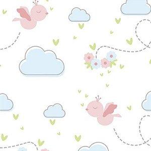 Feltro Estampado Céu de Passarinhos Livres Rosa - Santa Fé
