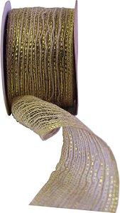 Fita aramada de juta 60mmx10m Cru C/Bordas Douradas  -  Aramex