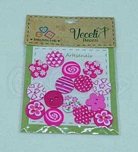 Botões Artesanais Kit Rosa Pink