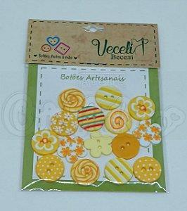 Botões Artesanais Kit Amarelo