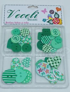 Botões Artesanais Kit Compose Verde