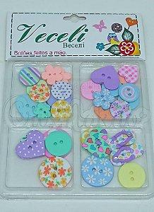 Botões Artesanais Kit Compose Colorido