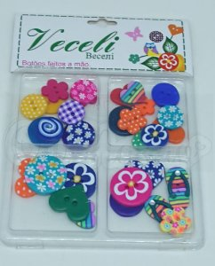 Botões Artesanais Kit Compose Super Colorido