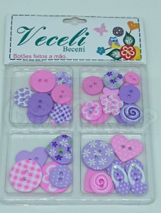 Botões Artesanais Kit Compose Rosa e Lilás