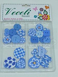 Botões Artesanais Kit Compose Azul Claro