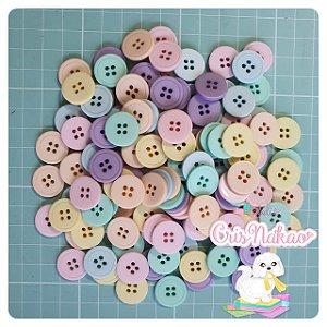 Botão Mix Pastel 4 furos 16,5mm - 24unidades