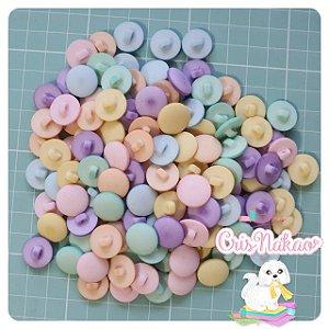 Botão Mix Pastel com pezinho  pastilha 15mm - 12 unidades