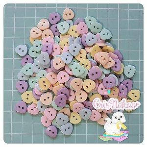 Botão Mix Pastel Corações 2 Furos  11,4mm - 12unidades