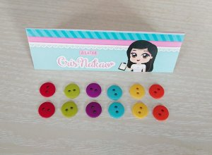 Botão Mix Circo Pastilha Cores Vibrantes 2 furos 11,5mm