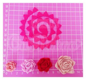 Recortes Espirais para Rosas em Feltro 7,5 cm Modelo 4 - 12 un (2,5cm Montada)