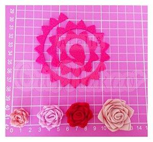 Recortes Espirais para Rosas em Feltro 12 cm Modelo 4 - 6un (4 cm Montada)