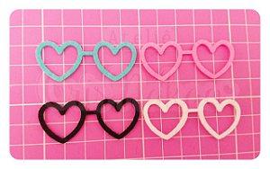 Kit Recortes em Feltro  Óculos Coração 6 cm - 10 un