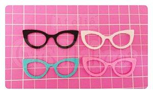 Kit Recortes em Feltro  Óculos Gatinho 6 cm - 10 un