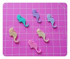 Kit Recortes em Feltro Cavalo Marinho mod 1 5 cm - 20 unidades