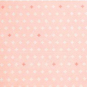 Feltro Estampado Soma Rosa Iogurte  - Santa Fé
